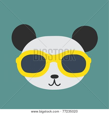 Vector Image Of A Panda Wearing Glasses.