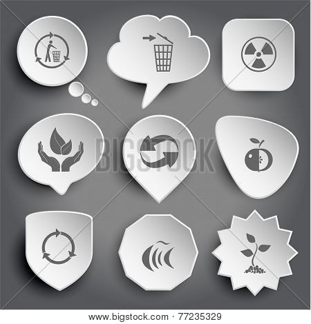 recycling bin, radiation symbol, life in hands, recycle symbol, apple, fish, sprout. White vector buttons on gray.