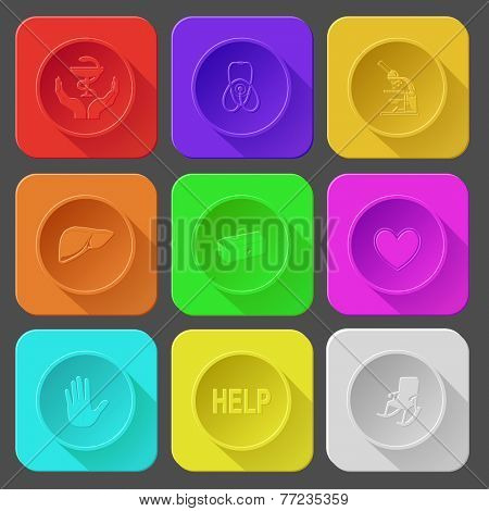 pharma symbol in hands, stethoscope, lab microscope, liver, medical suitcase, heart, stop hand, help, armchair. Color set vector icons.