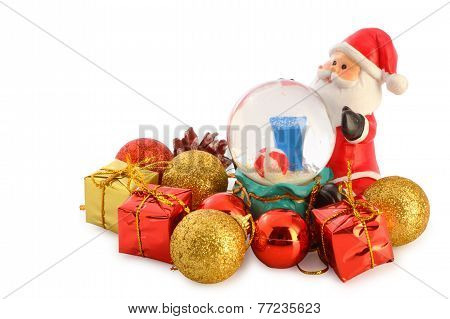 Santa Claus With Christmas Collection Isolated