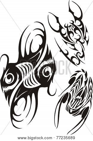 Zodiac Signs - fish and scorpion. Vector set.