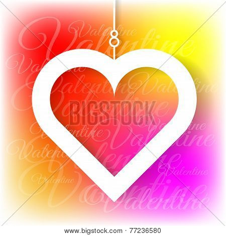 Heart applique on colorful bright background