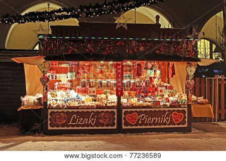 Typical shop on New Year's Fair near the Cloth Hall in Krakow, Poland