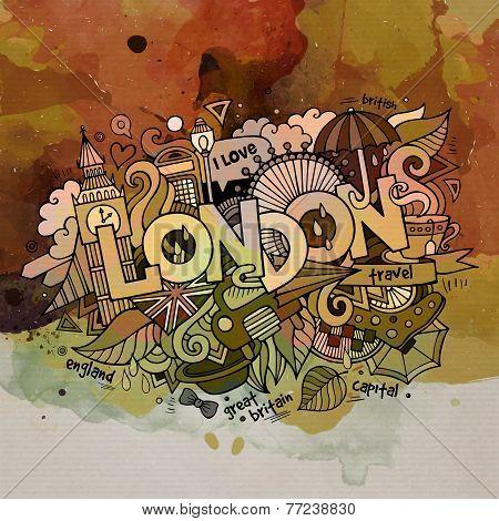 London watercolor doodles elements background.