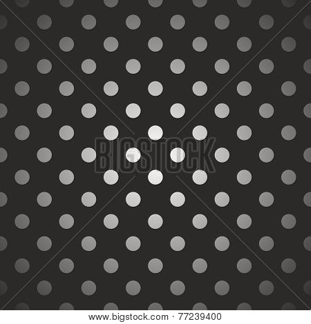 Tile dark vector pattern gradient white and grey polka dots on black background