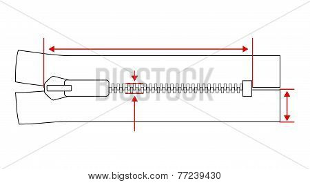 Zipper dimension specification vector illustration isolated on white background.