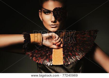 Portrait Of Pretty Woman With Creative Eyepatch