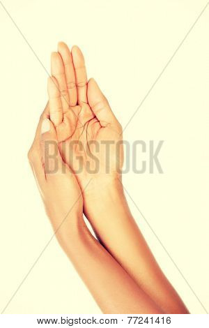 Hands care concept. Close up shoot of beautiful female hands