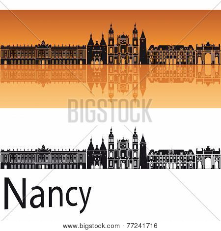 Nancy skyline in orange background