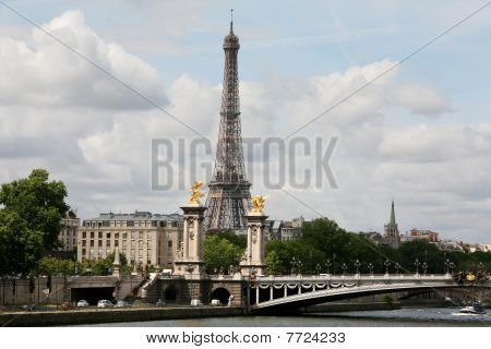 Paris skyline and Seine River