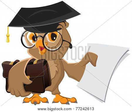 Owl holding a briefcase and paper