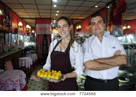 Small Business: Owner Of A Cafe And Waitress