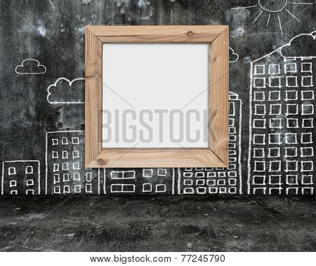 Wooden Frame Blank Whiteboard With Sun Clouds Buildings Doodles Wall