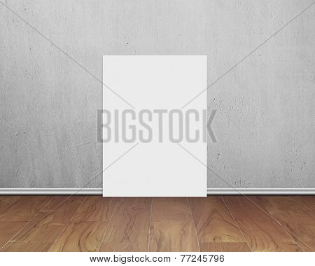 Blank White Board With Concrete Wall On Wooden Floor