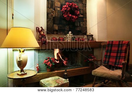 Christmas Fireplace Decorated With Red Wreath