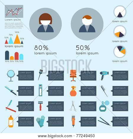 Hairdresser infographic set