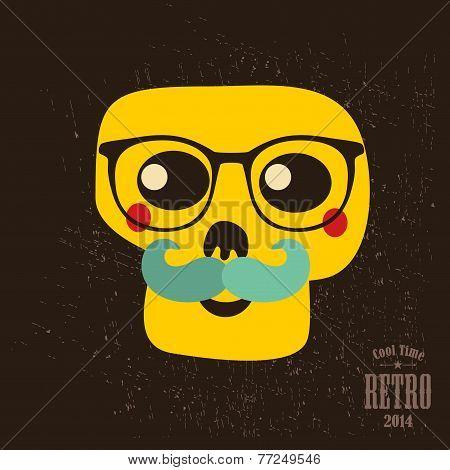 Hipster skull in glasses.