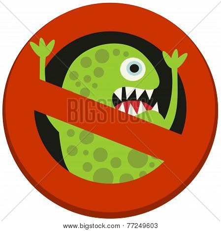 Ban sign to virus aggression.