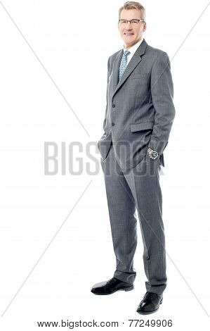 Full Length Of A Confident Businessman