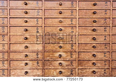 Wooden Drawers With Japanese