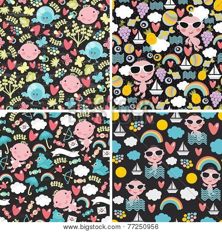 Set of cute seamless patterns with happy babies.
