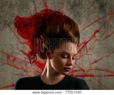Fashion Girl Portrait With Coloring Red Hair