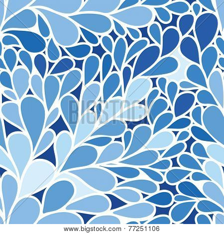 Seamless pattern. Foliate background in blue colors