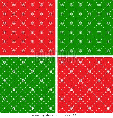 Seamless patterns. Christmas ornaments with snowflake and dotted rhombuses. Holiday backgrounds