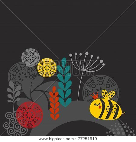 Colorful print with bee and flowers.