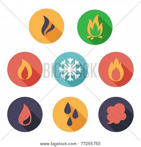 Fire, freeze, steam, water icons. Flat style