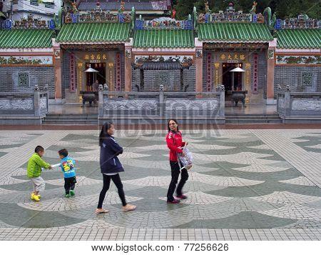 Colorful Temple At Sai Kung Seaside Scenic Hong Kong