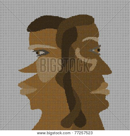 Two heads connected in the rear in brown tones