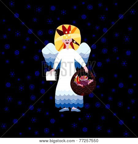 Christmas angel with book of good deeds and basket with sweets on dark background