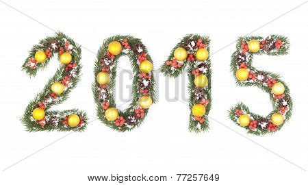 2015 Number Written By Christmas Tree Branches