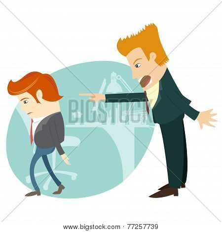 Angry businessman sitting screaming and pointing on the manager