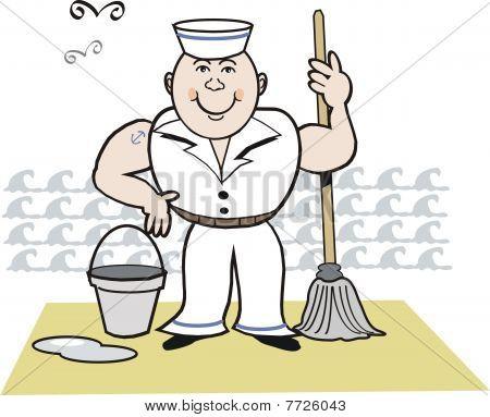 Happy sailor cartoon