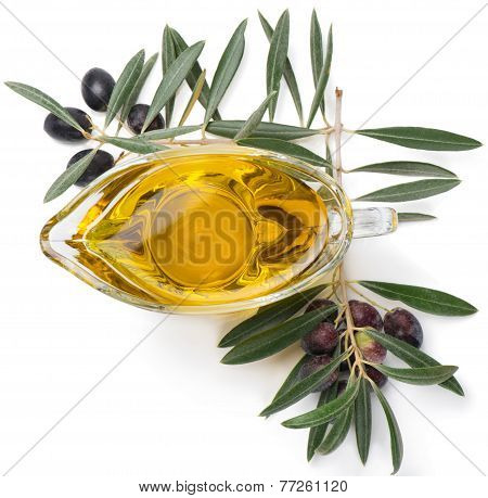 Branch With Olives And Olive Oil, Top View