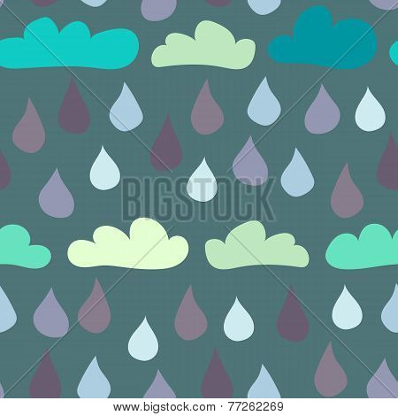 Seamless Clouds And Raindrops Background