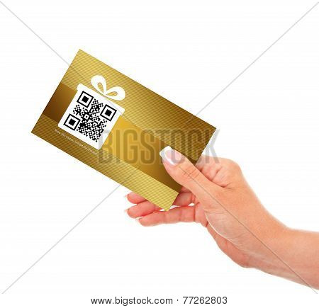 Hand Holding Discount Coupon Isolated Over White