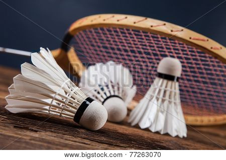 A Set Of Badminton. Paddle And The Shuttlecock.