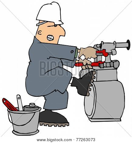 Man trying to loosen a gas meter