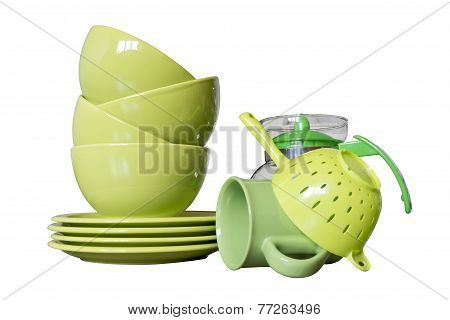 green porcelain dishes isolated on white