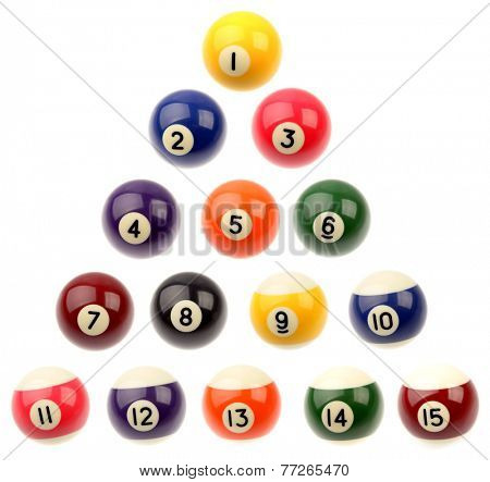 Set of fifteen pool balls isolated over white background