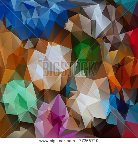 Vector Polygonal Background With Irregular Tessellations Pattern In Full Colors