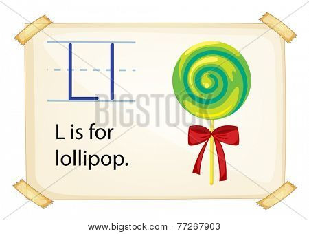 A letter L for lollipop on a white background