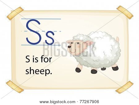 A letter S for sheep on a white background