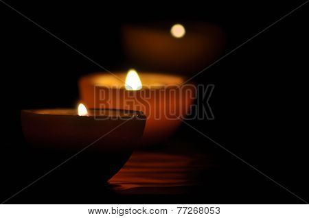 Lamp, Candle Shining In The Darkness. Challis Flame. Artistic Composition. Lighting.