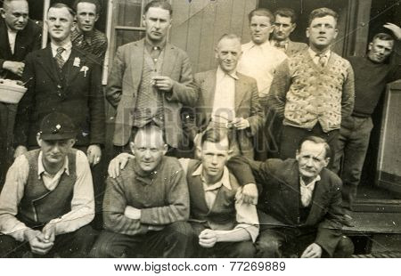WESTERWALD, GERMANY, CIRCA 1939: Vintage photo of group of Polish forced laborers in Nazi Germany