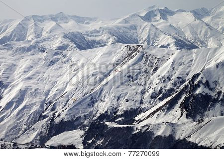 Paragliders Of Snowy Mountains
