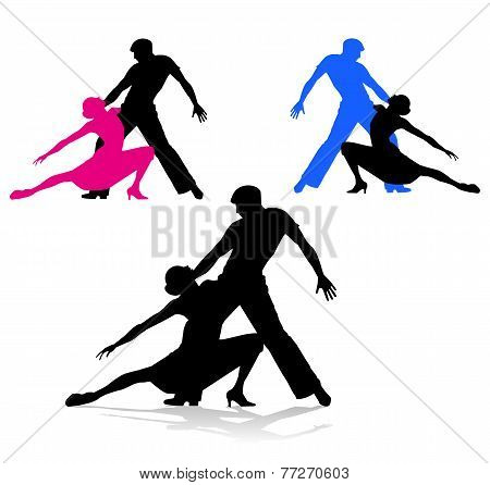 dancing couple on white background